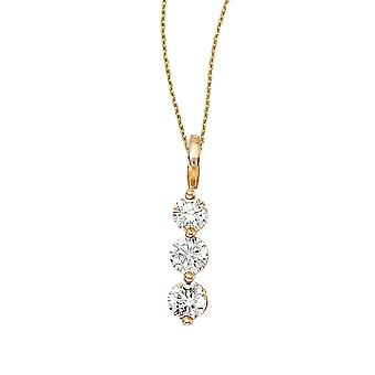 14k Yellow Gold 3 Stone Diamond Drop Pendant with 18
