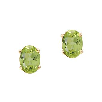 14k Yellow Gold Oval Peridot Stud Earrings