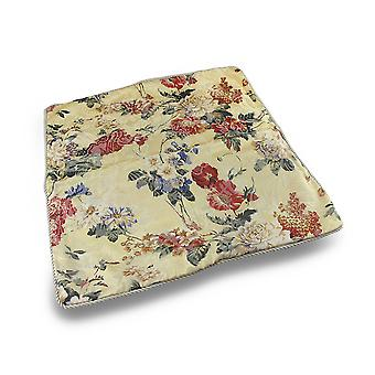Floral Print Light Yellow Throw Pillow Cover w/Ivory Corded Trim 18x18 in.