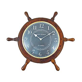 19 Inch Diameter Nautical Wooden Ships Wheel Clock