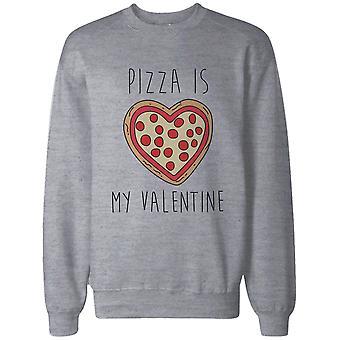 San Valentín divertidos gráficos sudadera en gris – Pizza es mi suéter del suéter de San Valentín