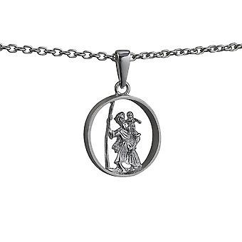 Silver 25mm round cut out St Christopher Pendant with bail on a cable link Chain 18 inches