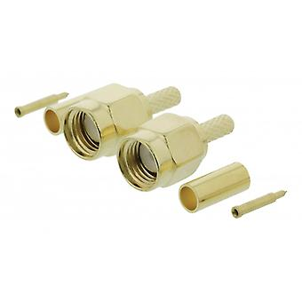 ValueLine SMA connector male, crimpmontering, gold, 2 pieces