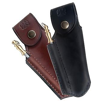 Finest quality leather sheath for Laguiole with sharpener - Color - Black Direct from France