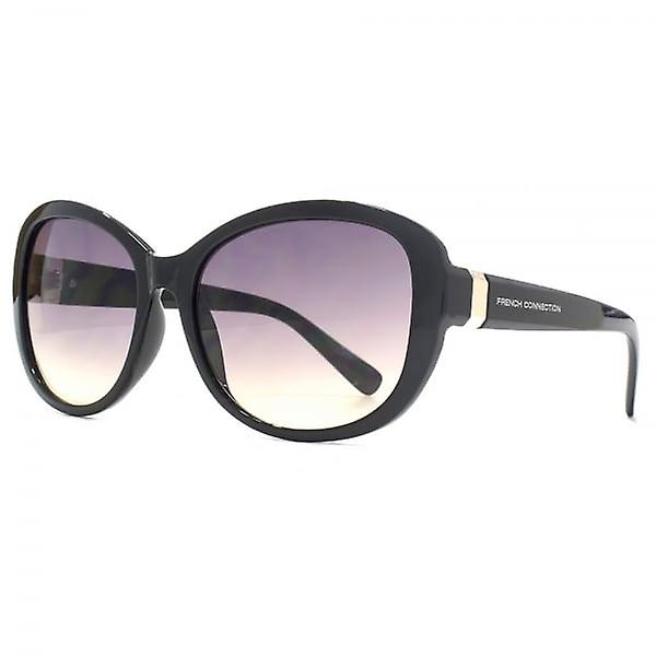French Connection Facet Trim Sunglasses In Shiny Black
