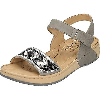 Rieker Wedge Heel Platform Open Toe Sandals Grey V5778-42