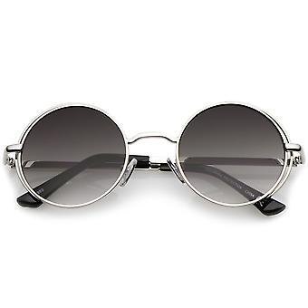 Retro åben metalramme Slim templer flad linse runde solbriller 49mm