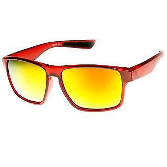 Action Sports Large Wide Temple Color Mirror Lens Sunglasses