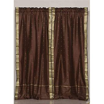 Brown Rod Pocket  Sheer Sari Curtain / Drape / Panel  - Piece