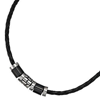 Necklace necklace leather black with stainless steel leather chain 45 cm