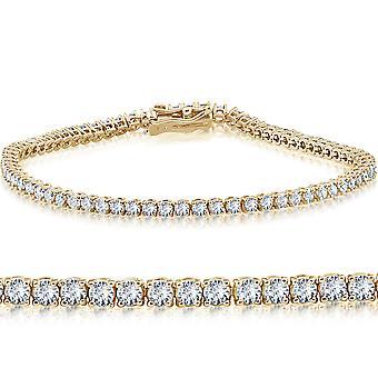 """14k gult guld 3 ct rund diamant Tennis armband 7 """""""