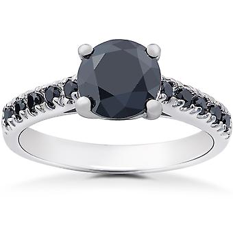 2 1/4 ct Black Diamond Solitaire Accent Engagement Ring 14k White Gold