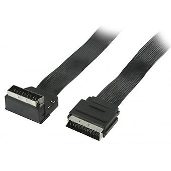 ValueLine Flat SCART cable SCART plug-SCART male 270 ° angled 2.00 m black