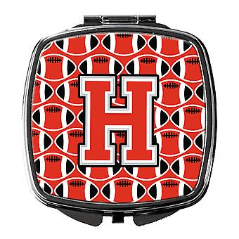 Letter H Football Scarlet and Grey Compact Mirror