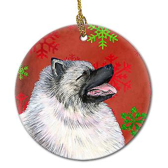 Keeshond Red Snowflakes Holiday Christmas Ceramic Ornament SS4695
