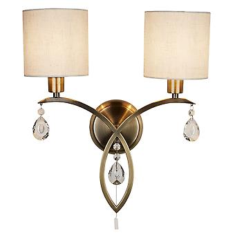 Searchlight 1602-2AB Alberto Two Light Wall Light In Antique Brass And Crystal With Shade