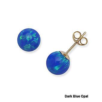 14k gul guld blå 7 mm runde simulerede Opal øreringe
