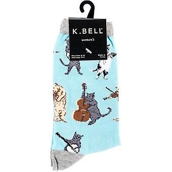 Novelty Crew Socks-Musical Cat NOVSOCKS-7H016