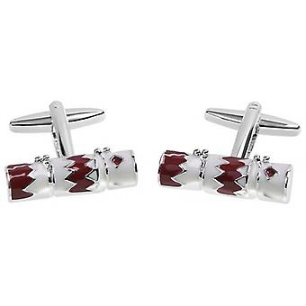 Zennor Christmas Cracker Cufflinks - Red/White/Silver