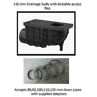 Ondergrondse Drainage Gully - kant inlaat-110 mm voor Downpipes 80,90,10,110, 125mm