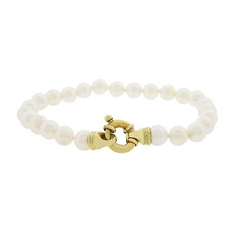 Pearl bracelet with yellow gold lock