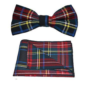 Traditional Dark Green & Black Tartan Bow Tie & Pocket Square Set, Check, Plaid