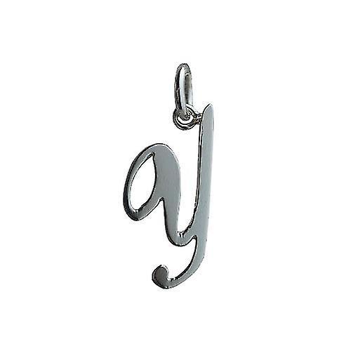 Silver 23x10mm plain Palace script Initial Y Pendant
