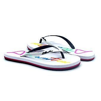 Atlantis Shoes Women Supportive Cushioned Comfortable Sandals Flip Flops Big Logo White