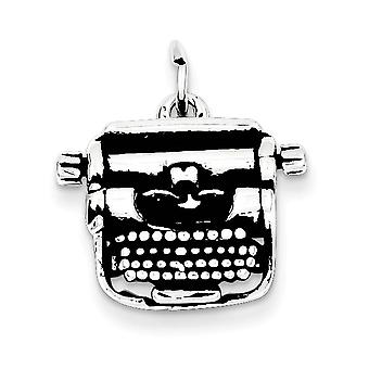 925 Sterling Silver Typewriter Charm Pendant - 20mm
