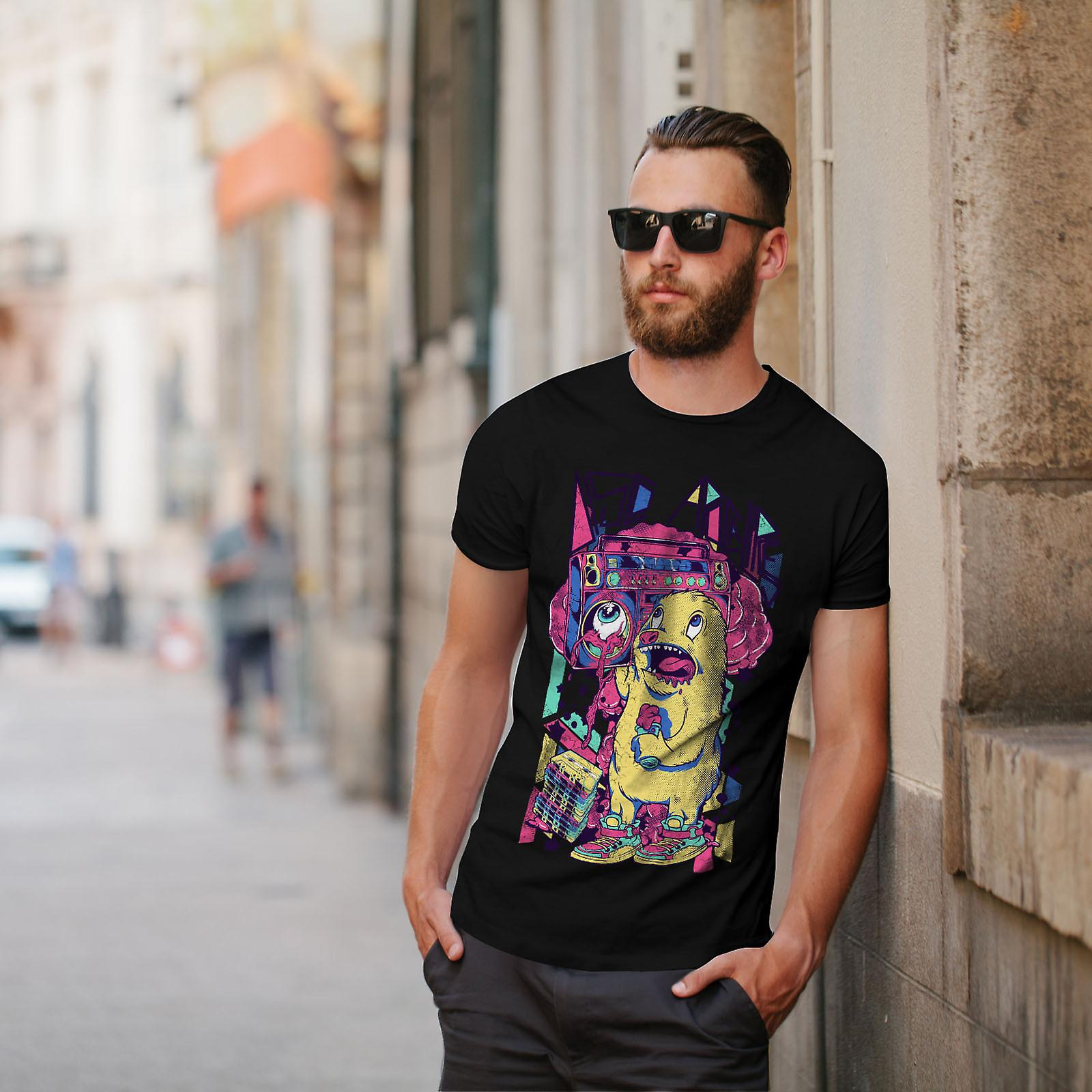 Monster Boom Box Music mannen zwart T-shirt | Wellcoda