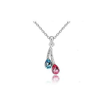 Womans Waterdrop Pendant Necklace Silver Pink and Blue