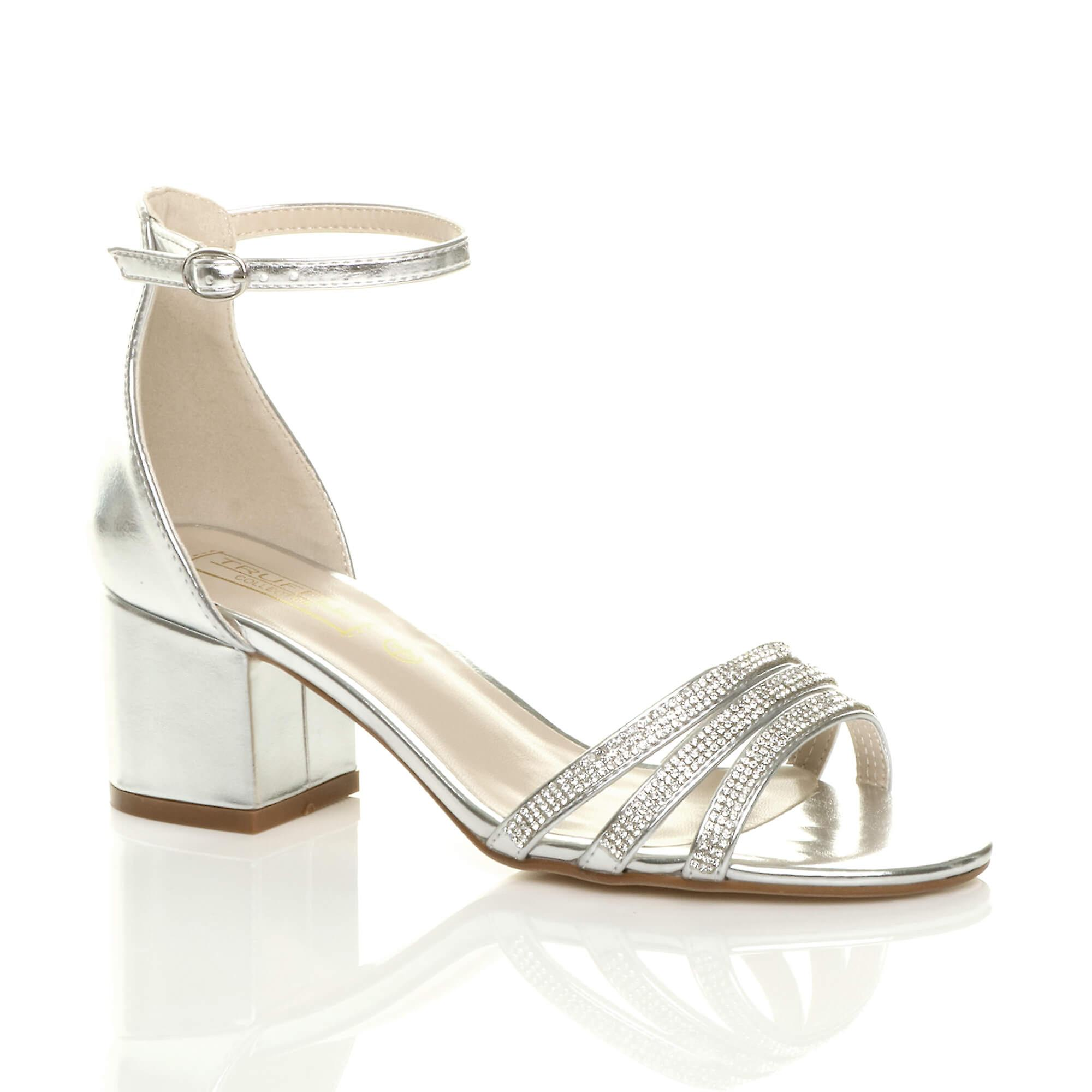 Ajvani womens low mid block heel strappy diamante party evening sandals shoes