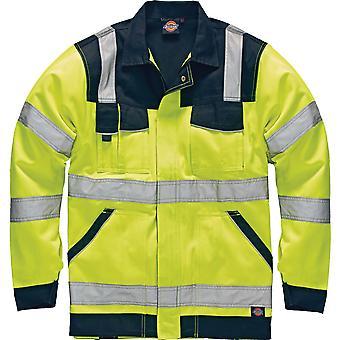 Dickies para hombre industria alta visibilidad Viz Polycotton chaqueta amarillo