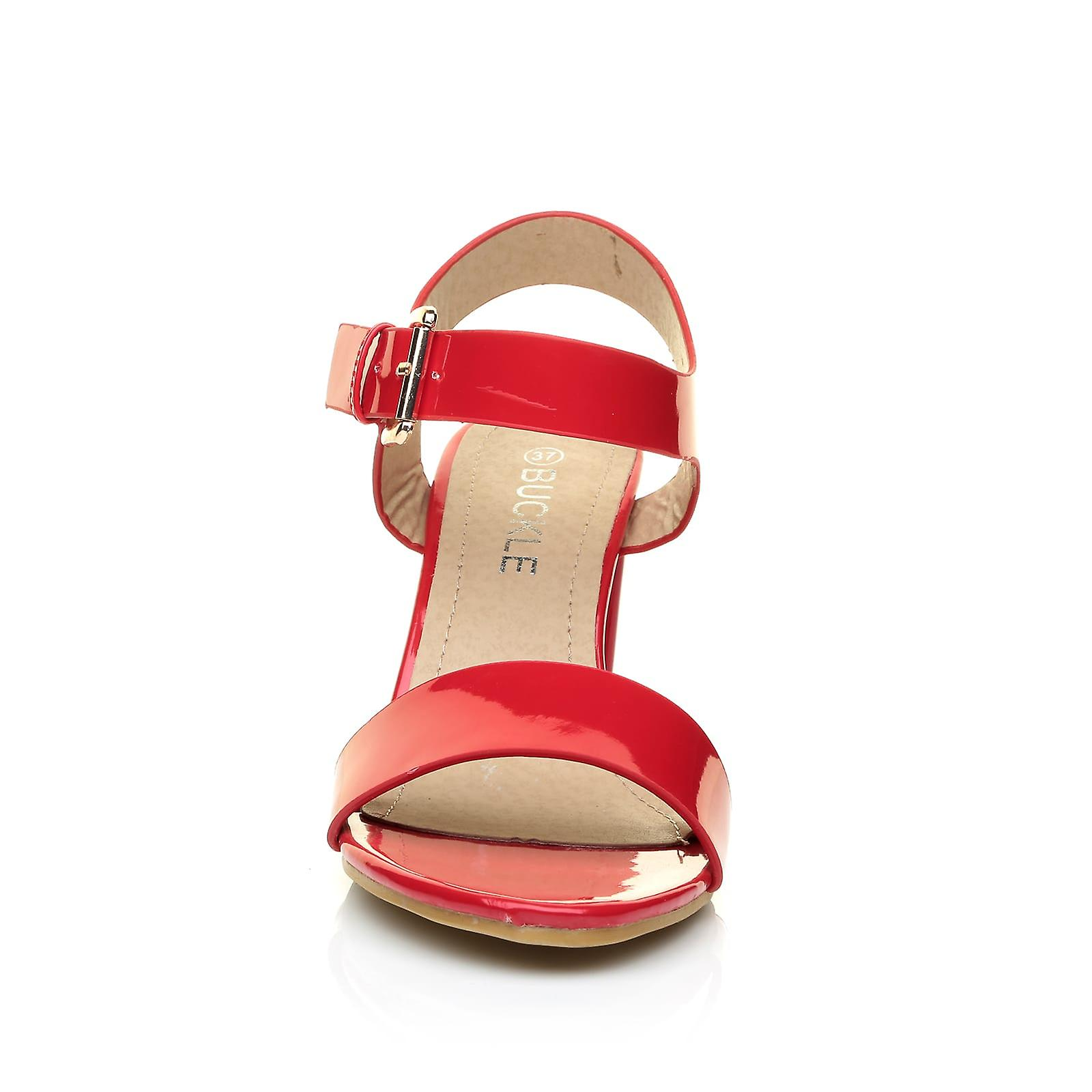 CARRIE Heel Red Toe Leather Ankle Sandals Strap Party Patent High PU Block Peep wFOqrYwd