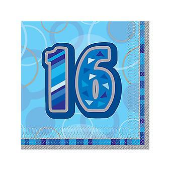 Anniversaire Glitz bleu - 16e anniversaire - serviette