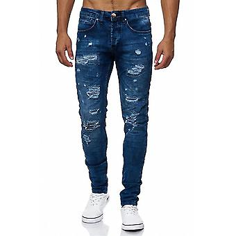 Men's Jeans torn pants of ripped destroyed denim blue stonewashed slim holes