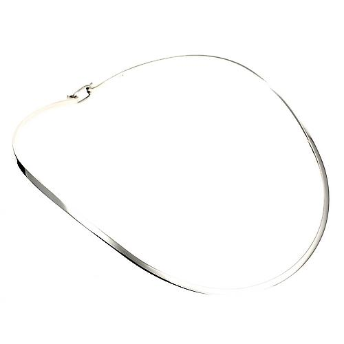 Silver Collar Necklace Oval