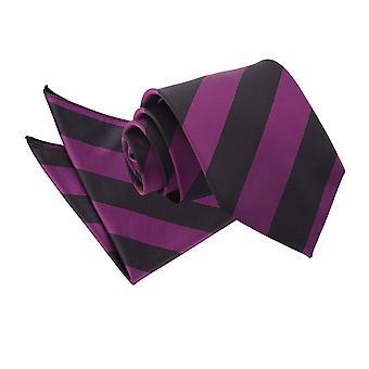 Lila & schwarz gestreifte Krawatte & Einstecktuch Satz