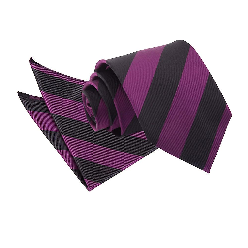Purple & Black Striped Tie & Pocket Square Set