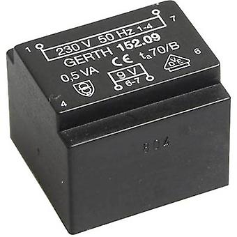 PCB mount transformer 1 x 230 V 2 x 6 V AC 0.50 VA 41 mA PT201202 Gerth