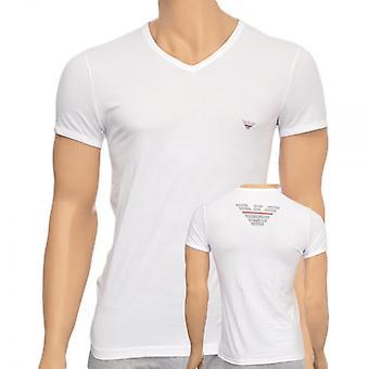 エンポリオ アルマーニのイーグル ストレッチ コットン v ネック t シャツ、ホワイト、ミディアム