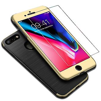 Apple iPhone 8 plus 2 in 1 case 360 degree full cover case gold