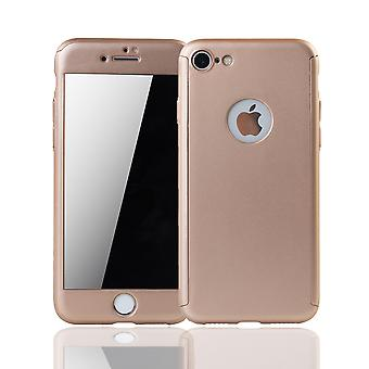 Apple iPhone 8 Handy-Hülle Schutz-Case Full-Cover Panzer Schutz Glas Gold