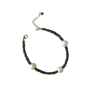 Smaragd armbånd grøn perle Emerald perle armbånd forgyldt
