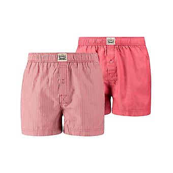 Levi's 2 Pack 300ls Striped Chambray Woven Boxer Trunk - Red