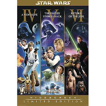 Star Wars Poster Widescreen Limited Edition Motiv mit Szenen der Teile IV bis VI