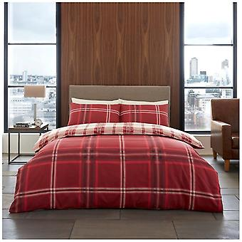 Bardsley Check 4 Piece Duvet Cover with fitted sheet Pillow case Bedding Set