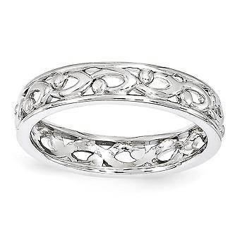 4,25 mm sterlingsilver polerat mönstrade rodium-plated stapelbar uttryck snidade Ring - Ring storlek: 5 till 10