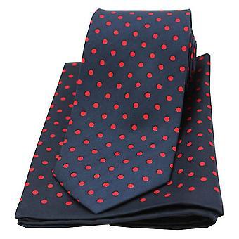 David Van Hagen Polka Dot passende Krawatte und Einstecktuch Set - Navy/rot