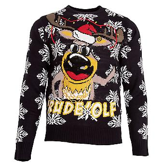 Brave Soul Mens 'Rude'olf Knitted Christmas Jumper
